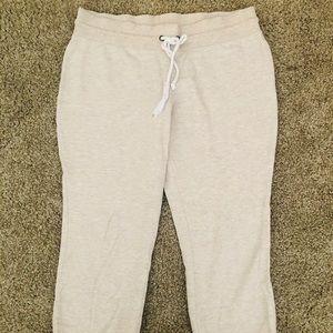 Size M sweatpants capris (cream colored)